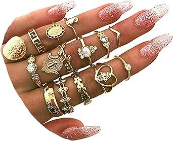 BERYUAN Rings Crystal Rings for Women Rings for Teen Girls Gold Rings Womens Rings Cute Rings Stackable Rings Set(15Pcs)(Rings Size 5 6 7 8 9)