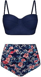 e1a6738abf60a SGMORE Women Vintage Polka Dot High Waisted Swimsuit Bathing Suits Bikini Set  Tankini Two Piece Bikini