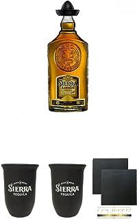 Sierra Antiguo Anejo Gold Tequila 0,7 Liter  Sierra Tequila Tonbecher 0,4 Liter  Sierra Tequila Tonbecher 0,4 Liter  Schiefer Glasuntersetzer eckig ca. 9,5 cm Durchmesser 2 Stück