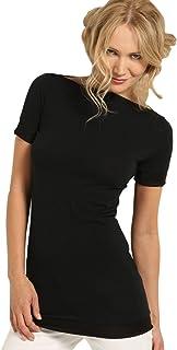 SENSI' T-Shirt Donna Manica Corta Bordi Lucidi Cotone Traspirante Senza Cuciture Seamless Made in Italy