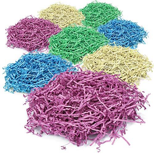 com-four® 8X Ostergras in 4 Farben - Bunte Papierwolle für Osterdeko und Osterkörbe - Farbiges Gras aus Papier zum Dekorieren und für Geschenke (08 Stück)