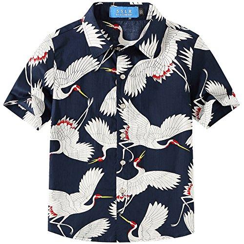 SSLR Big Boy's Cranes Short Sleeve Casual Button Down Hawaiian Shirt