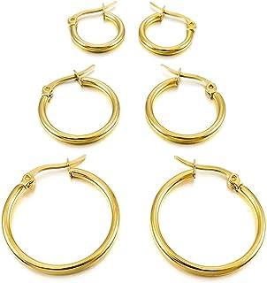 MunkiMix 15mm 20mm 25mm Acciaio Inossidabile Cerchio Orecchini Argento Oro Rose Gold Nero Tono Set (3 Coppie) Donna
