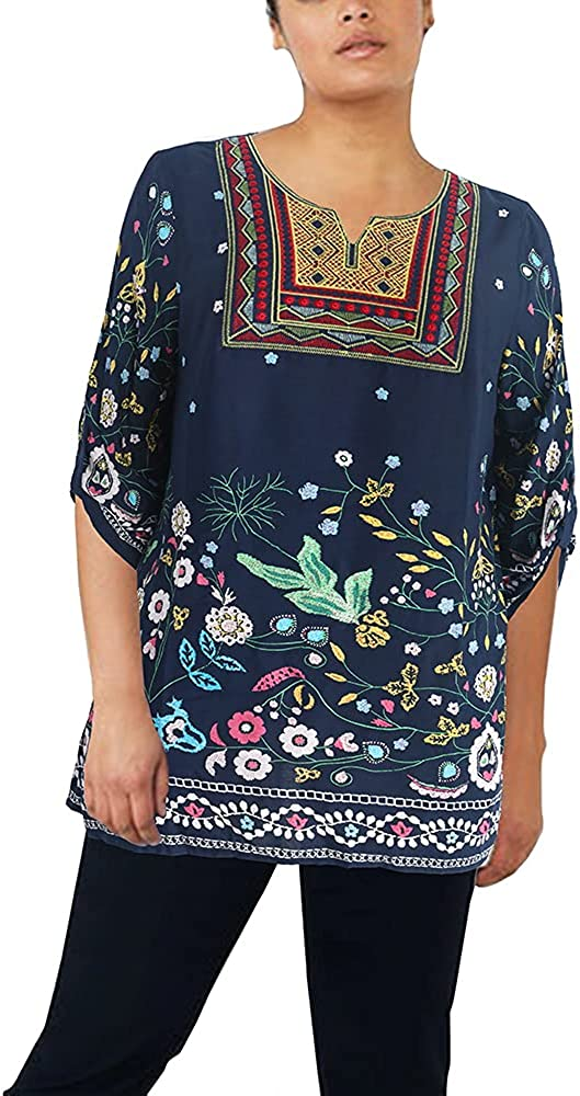 ZOEFUL Women's Plus Size Embroidered Peasant Top Roll-Tab Sleeve Mexican Boho Tunic