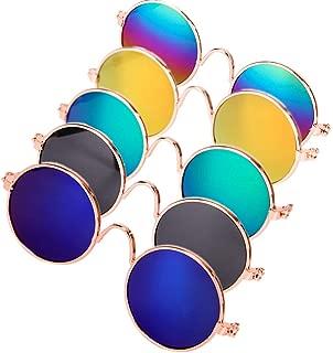 DPLUSクールスタイリッシュで面白いかわいいペットサングラスペットゴーグル-メガネセット5-猫、チワワまたは小型犬(クラシックレトロ)のクラシックレトロ円形金属王子サングラス