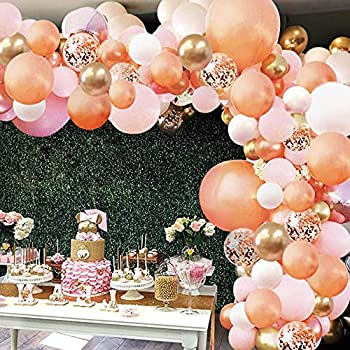Rose Gold Balloon Garland Arch Kit 152 Pieces Rose Gold Pink White and Gold Confetti Latex Balloons for Baby Shower Wedding Birthday Graduation Anniversary Bachelorette Party Background Decorations