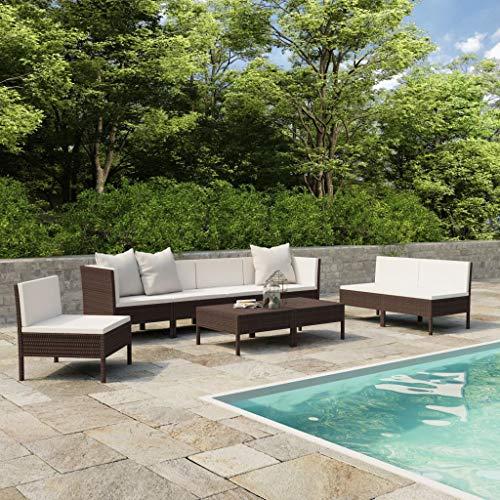 vidaXL Set Muebles de Jardín 9 Piezas y Cojines Butaca Asiento Exterior Patio Elástica Estable Duradera Sofá Salón Ratán Sintético Marrón