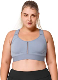Yvette Women's Plus Size High Impact No Bounce Wirefree Hollow Out Racerback Sports Bra