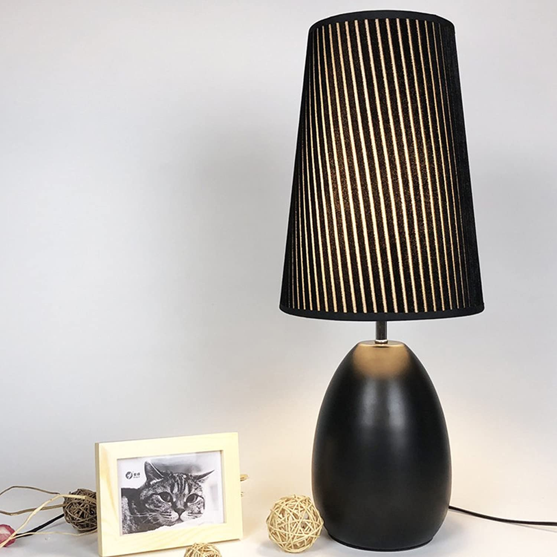 Wanson Tischlampe Modern Living Zimmer Tischlampe Hotel Tischleuchten Stoff Nachtlicht Durchmesser 22Cm E27 Schwarz Pflege Lampe