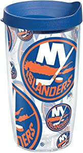 Tervis NHL New York Islanders All Over Tumbler with Wrap and Blue Lid 16oz, Clear