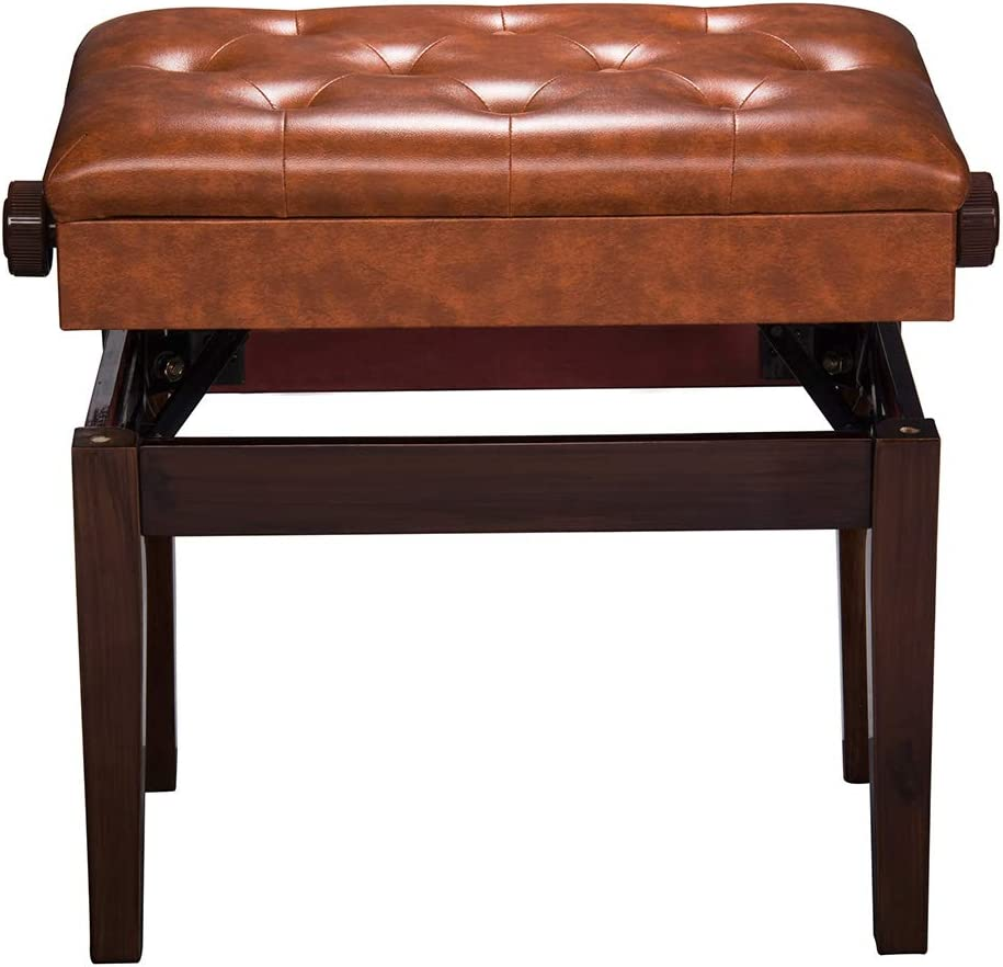 AW Piano Bench Be super welcome Stool Rare Adjustable Leather Key Wooden Height Padded