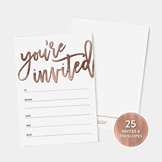 25 Rose Gold You're Invited Fill-In Party Invitations and Envelopes, Faux Rose Gold Texture, For Bridal Shower, Rehearsal Dinner, Birthday Party, Anniversary, Graduation