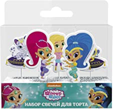 Shimmer and Shine Molded Pick Candle Set (5pcs) Birthday Party Supplies Cake Cupcake Topper Decoration