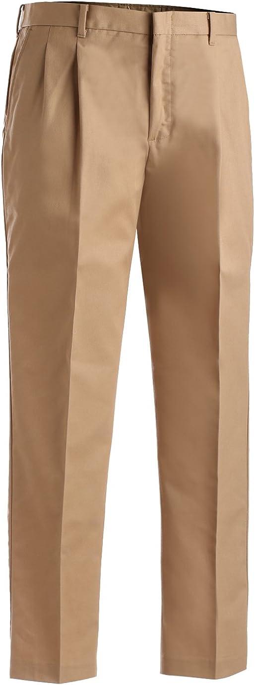 Edwards Garment Men's Tall Business Casual Chino Pleated Pant, KHAKI