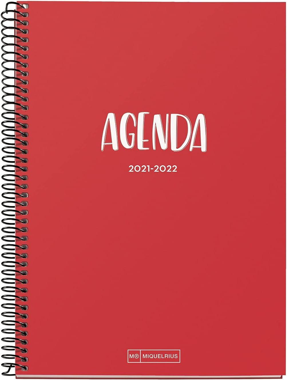 Miquelrius - Agenda Escolar 2021-2022, Tamaño Plus 15 x 21.3 cm, Día Página, School Rojo, Idioma Español