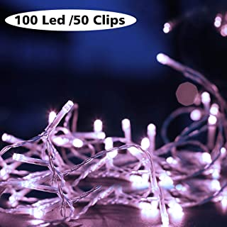 JINMAON Photo Clip String Lights 100 LED Fairy String Lights with 50 Clear Clips for Hanging Pictures, Photo String Lights with Clips - Perfect Dorm Bedroom Wall Decor Wedding Decorations