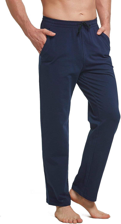 BALEAF Pantalon de yoga pour homme en coton avec bas ouvert Pantalon de sport avec poches Jambe droite Coupe d/écontract/ée
