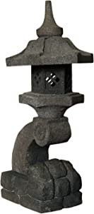 Asiastyle Farol de Piedra japonés Lava Piedra, mehrtlg. Modelo Rankei Escultura, Gris de Negro, Aprox. 90cm de Alto