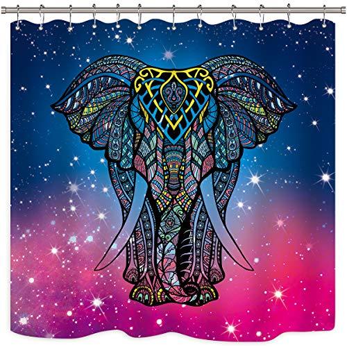 Riyidecor Mandala-Elefanten-Duschvorhang-Set, 12 Stück, mit Metallhaken, asiatische orientalische Motive, blaues Tier, wasserfest, Stoff für Badezimmer, Badewanne, Heimdekoration, 182,9 x 182,9 cm