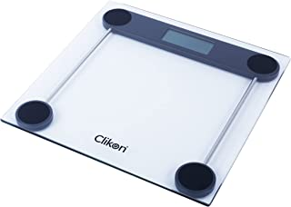 Clikon - Tempered Glass Digital Bathroom Scale, Automatic On/Off Zero Operation, Overload & Low Battery Indicator - CK4018