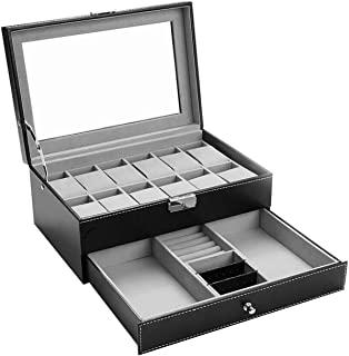 Hossejoy Leather Watch Box 12 Mens Watch Organizer with Jewelry Display Drawer Lockable Watch Case Organizer, Black