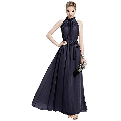 bd555cbda06 VSVO Women Halter Neck Sleeveless Chiffon Maxi Dresses