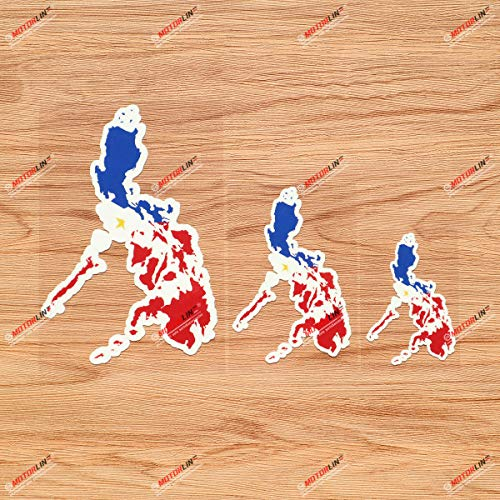 Philippines Map Flag Colors Filipino Pilipinas Vinyl Decal Sticker - 3 Pack Glossy, 3 Inches, 4 Inches, 6 Inches
