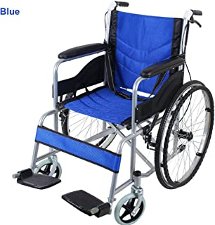 "Folding Wheelchair 24"" with Park Brakes Dual Brakes Transport Mobility Aid Lightweight Safety Belt Lightweight Footrest Ba..."