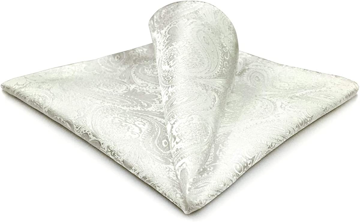 SHLAX&WING Mens Pocket Square Silk White Solid Color Paisley for Suit Jacket New