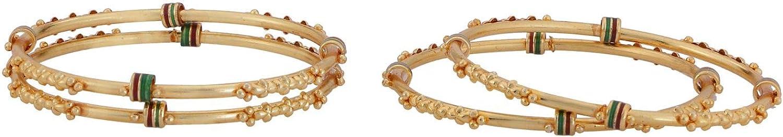 Efulgenz Indian Style Bollywood Traditional Gold Plated Enamel Wedding Bridal Bracelet Bangle Set Jewelry
