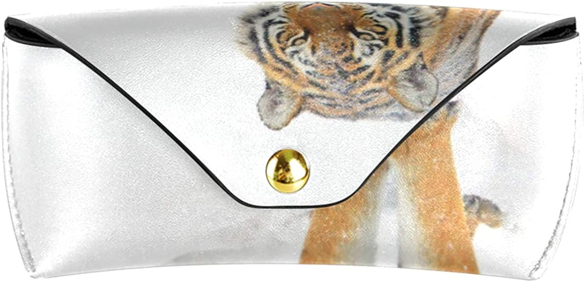Sunglasses Case Eyeglasses Pouch Goggles Bag PU Leather Portable Multiuse Cute Winter Snow Animal Tiger