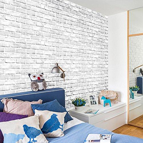 Moent 3D Brick Stone Rustikaler Effekt Selbstklebender Wandaufkleber Home Decor, White Brick Wall 3D Simulation Wandaufkleber