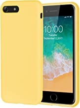 iPhone 8 Case,iPhone 7 Case,Soft Silicone Gel Rubber Case with Microfiber Lining Cushion and Tempered Glass Screen Protector Shockproof Full Body Protective Case for iPhone 8,iPhone 7 (Yellow)