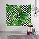 YXBang Palm Tree Oil Painting Leaf Black and White Square Tapestry Wall Hanging Tropical Jungle Nature Green Banana Leaf Beach Towel Living Room Bedroom Dormitory Home Decor 130Cm X 150Cm, 51 X 59In