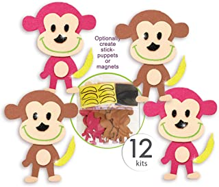 Monkey Stickers with Glitter Safari Animal Stickers for Kids Jungle Craft Kits for Kids Self Adhesive Sticker Foam Monkey Decorations Great for Five-5 Little Monkeys Finger Puppets Stick Puppets 12 Pk