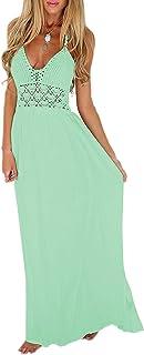 6e8853f3fc HIYIYEZI Women s Beach Crochet Backless Bohemian Halter Maxi Long Dress