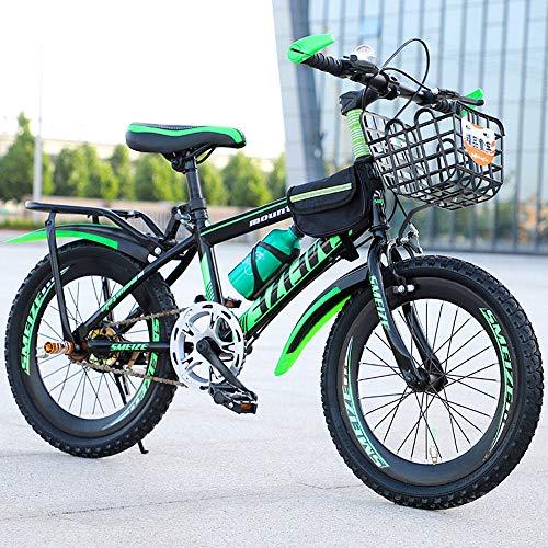 JUZSZB Bicicletta da Bambino Mountain Bike,Mountain Bike per Bambini, Adatta per Ragazzi E Ragazze di 6-7-8-9-10-12-13-14-15 Anni Che Vanno in Bicicletta Verde (Nessun Cambio di velocità) 18 Pollici