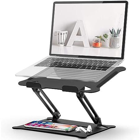 【2021改良版】笔记本电脑支架 kecicty 笔记本电脑支架 折叠式 改善姿势 高度 可调 防滑 带热口 铝合金制 轻量 携带方便 PC支架 Macbook Air/Macbook Pro/iPad Pro/Notebooks等17.3英寸为止适用