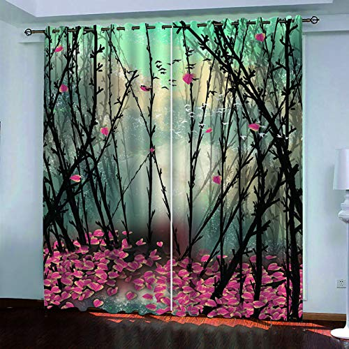 YUNSW 3D Chinese Painting Curtains, Two-Piece Perforated Curtains, Shading And Soundproof Curtains For Living Room, Bedroom, Kitchen And Garden,
