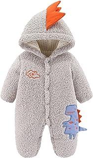 الوليد الرضع طفل الفتيان الفتيات الديناصور أرنب مقنعين رومبير الصوف بذلة معطف دافئ الملابس (Color : Gray, Size : 24M)