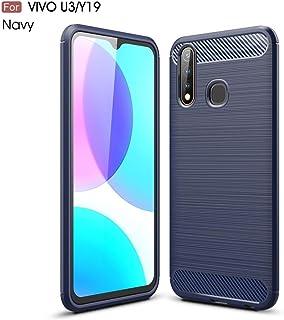 QFH For Vivo U3 / Y19 Brushed Texture Carbon Fiber TPU Case(Black) new style phone case (Color : Navy Blue)