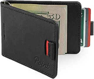 Point Genuine Leather Slim Wallet For Men With Money Clip ? Minimalist Billfold For Front Or Back Pocket With Gift Box - Black, Medium