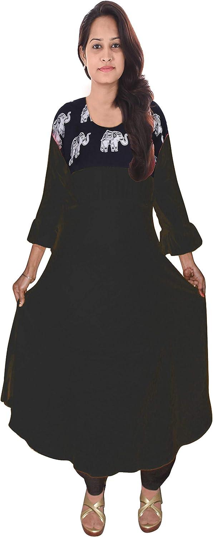 Lakkar Haveli Indian Women's Long Dress Wedding Wear Casual Tunic Ethnic Animal Print Kurti Frock Suit Black Color