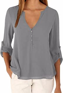 Womens Casual Plus Size V Neck 3/4 Sleeve Button Down Chiffon Blouse Shirts Tops
