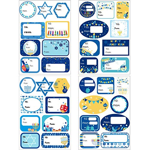 216 Lables Hanukkah Tag Stickers Hanukkah Labels Self-Adhesive Decorations Windows Stickers for Party Favor Decorations