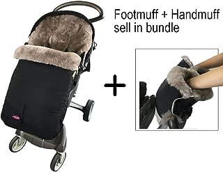 Waterproof 100% Australia Lambskin Universal Stroller Footmuff,Sheepskin Stroller Bunting Bag Included Extra Thick Sheepskin Gloves Anti-Freeze Stroller Handmuff,Grey
