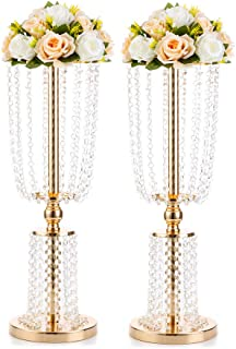 2 Pcs 23.75 inches Gold Vases for Centerpieces Tall Crystal Metal Vase Flower Stand Holders Wedding Centerpiece Chandelier for Reception Tables Wedding Supplies