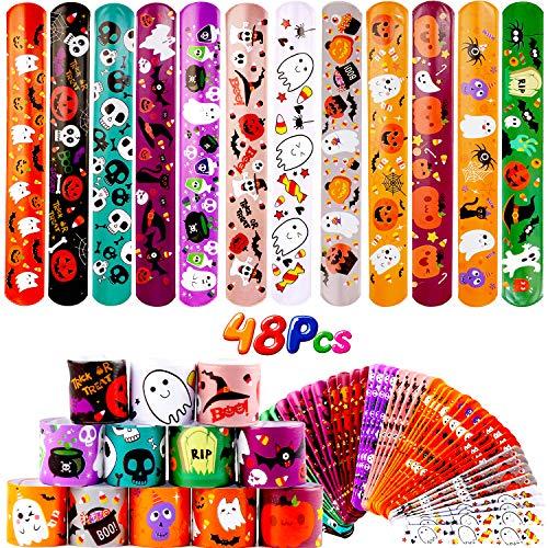 VEYLIN Halloween Snap Bracelets, 48Pack Slap Bracelets Bulk with Pumpkin Ghost Spider Pattern for Halloween Party Favors