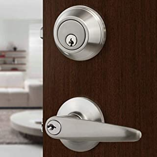 Front Door Entry Lever Lock Set and Single Cylinder Deadbolt Keyed Alike Combination Set, Satin Nickel