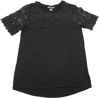 Womens Size Small Short Sleeve Crochet Lace Blouse, Black